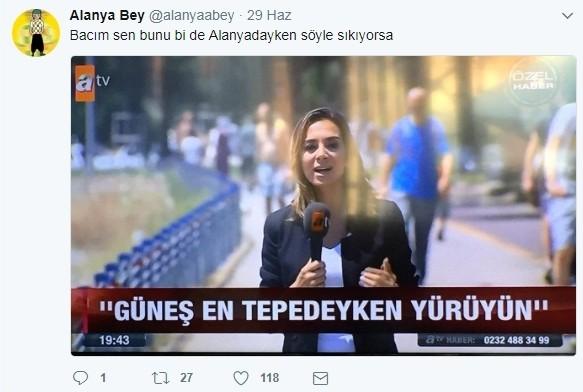 Alanya'daki sıcak havalarla ilgili tweetleri ile takipçilerini kahkahalara boğan Alanya Bey'inin (@alanyaabey) paylaşımlarını sizler için derledik.