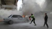 Alanya'daki araç yangınından panik dolu kareler