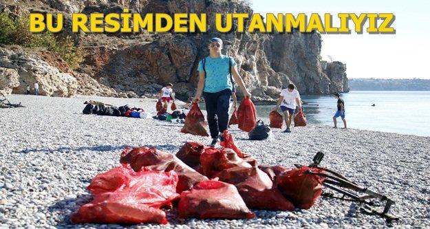 2 saatte 200 çuval çöple denizden çıktı