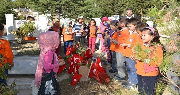 Öğrenciler  Şehit Ağaroğlu'nun mezarını ziyaret etti