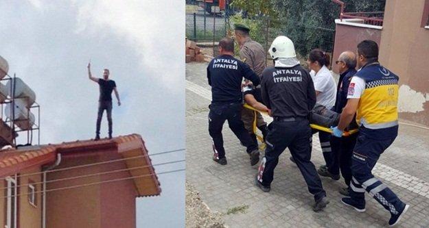İntihar için çıktığı çatıdan düştü