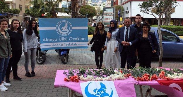 Ülkücüler Alanya sokaklarında karanfil dağıttı