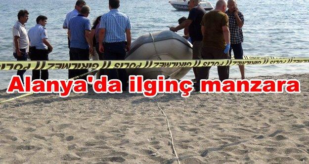 Cesede aldırmayan tatilciler yüzmeye devam etti