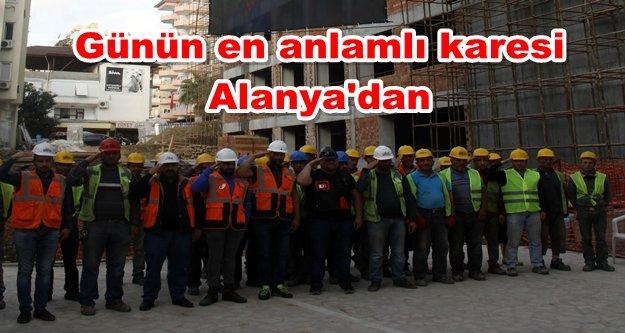 İnşaat işçileri Mustafa Kemal Atatürk'ü saygıyla andı