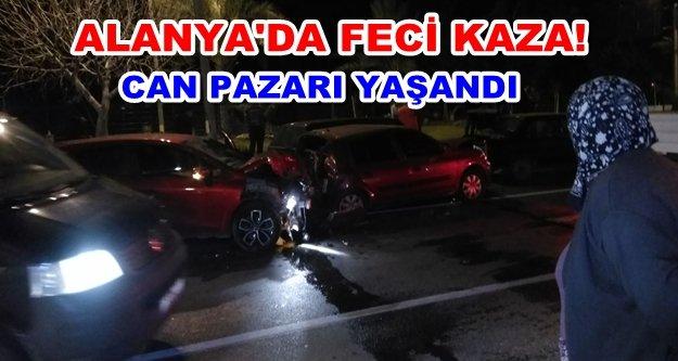 Alanya'da zincirleme kaza! 4 araç birbirine girdi