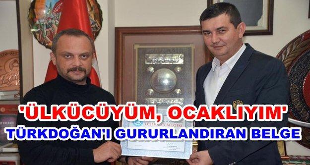 Türkdoğan'a teşekkür belgesi