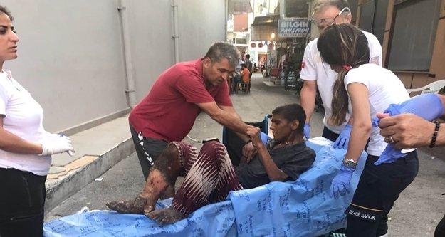 Yaralı dilenciye zabıtadan yardım eli