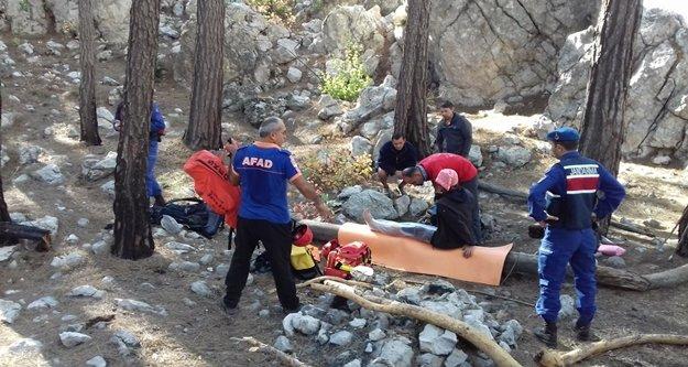 Kampta ayağı kırılan Ukraynalı turist helikopterle kurtarıldı