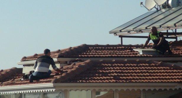 Polisle çatıda intihar pazarlığı