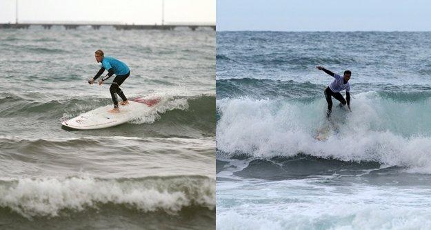 Sörfçüler Alanya'da şov yaptı