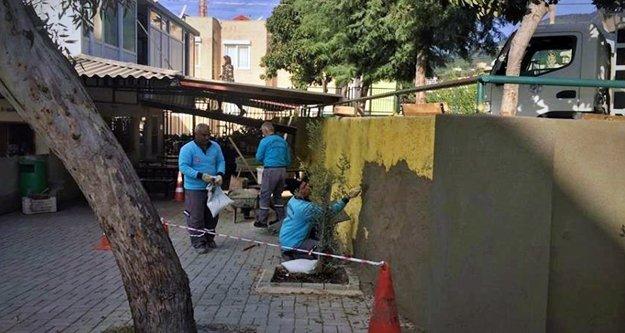 Alanya Belediyesi o okulun duvarlarını yeniledi