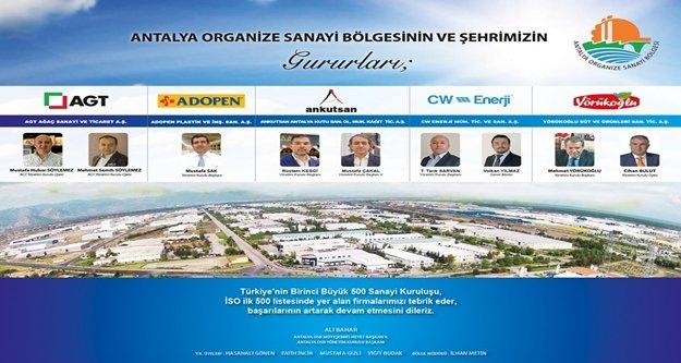 İSO İlk 500 'te 5 Antalya OSB firması