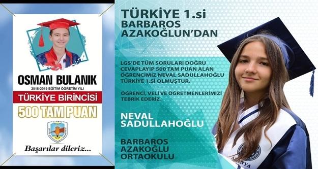 LGS'de Alanya 2 Türkiye birincisi çıkardı