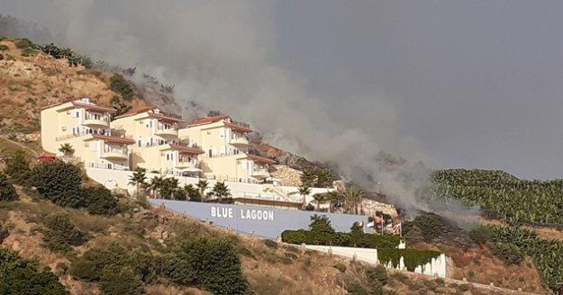 Gazipaşa'da villaların yamacında korkutan muz bahçesi yangını