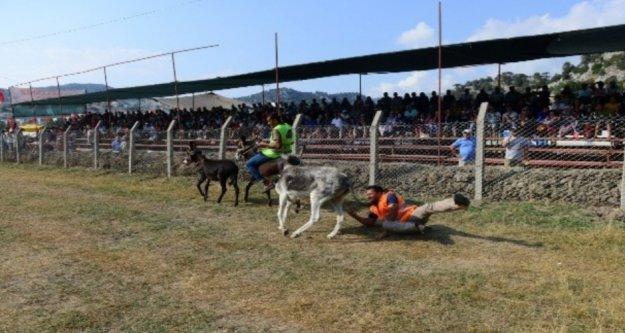 Antalya'da eşekli yörük futbolu