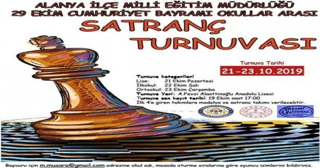 Alanya Cumhuriyet Bayramı Okullararası Satranç Turnuvasına Davet