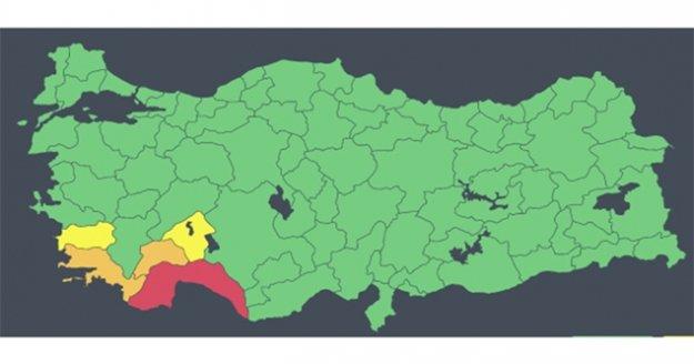 Antalya için 'kırmızı kodlu' uyarının kaldırıldığı açıklandı