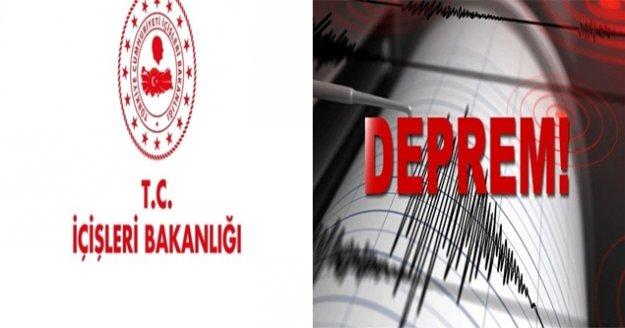 """İçişleri Bakanlığı: """"Depremde herhangi bir can kaybı yaşanmamış, boş bir binada yıkım meydana gelmiştir"""""""