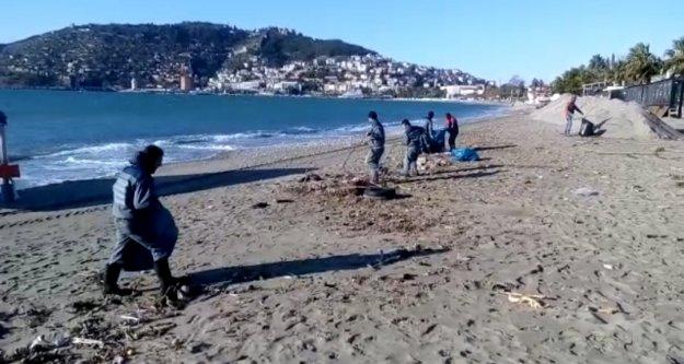 Alanya sahillerinde fırtına temizliği