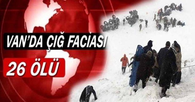 AFAD: 'Van'da çığ düşmesi sonucunda 26 kişi hayatını kaybetti, 53 kişi ise yaralandı'
