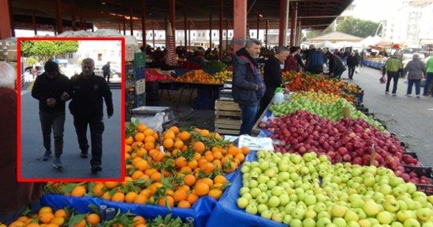 Pazarda meyve sebze hırsızlığı şüphelisi yakalandı