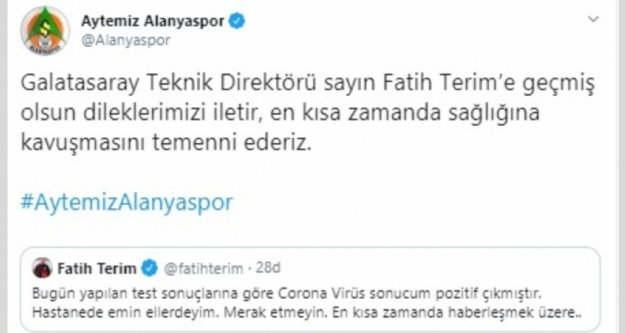 Alanyaspor'dan Terim'e geçmiş olsun mesajı