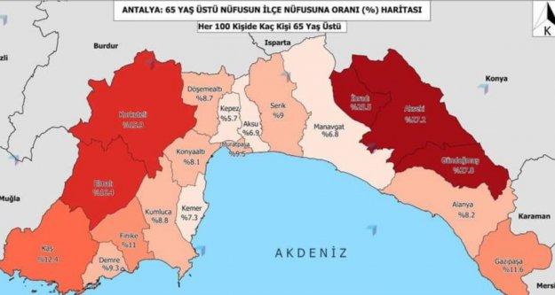 İşte Antalya ve ilçelerinin 65 yaş üstü oran dağılımı