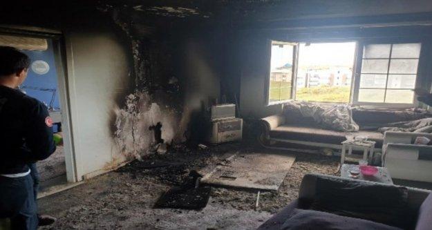 Klima ünitesinden çıkan yangında 4 kişi dumandan etkilendi
