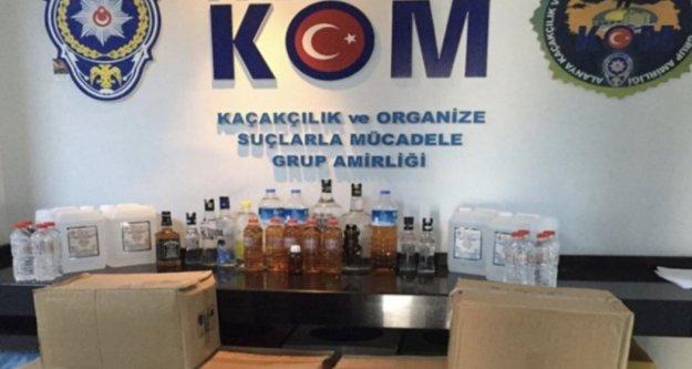 Alanya'da kaçak içki ve etil alkol operasyonu