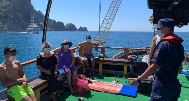 Alanya'da denizde korona virüs denetimi