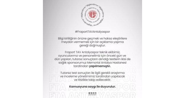 """Antalyaspor'dan açıklama: 'İnceleme yapılacaktır"""""""