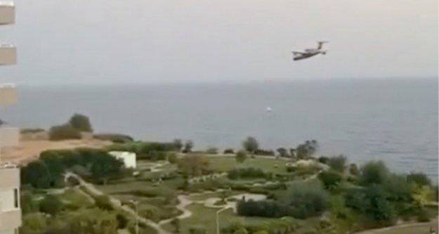 Denize sorti yapan yangın söndürme uçağı heyecanlandırdı