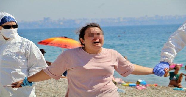 Karantinayı deldi, sahilde 'ölmek istemiyorum' diye bağırıp ortalığı birbirine kattı