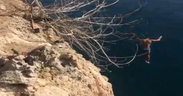 20 metrelik falezlerden 'kafayı yemişsiniz' dedirten atlayış