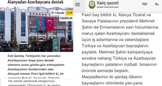 Başkan Şahin'e Azerbaycan'dan teşekkür