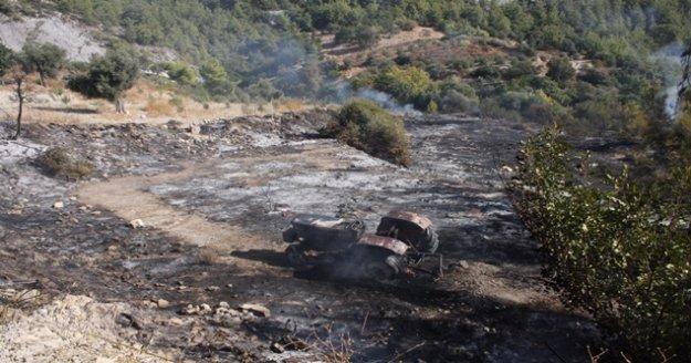 Yangın traktör ve arı evini küle çevirdi
