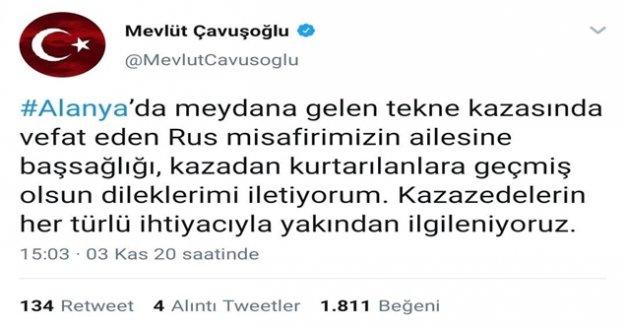 """Bakan Çavuşoğlu: 'Rus misafirimizin ailesine başsağlığı, kazadan kurtarılanlara geçmiş olsun dileklerimi iletiyorum"""""""