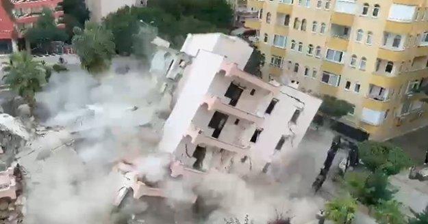 Alanya'da yürekleri ağza getiren apartmanın yıkımı!