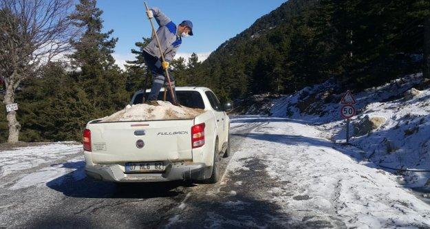 Alanya'daki o yolda buzlama çalışması yapıldı