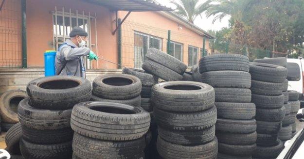 Alanya'da 40 tır dolusu atık lastik toplandı