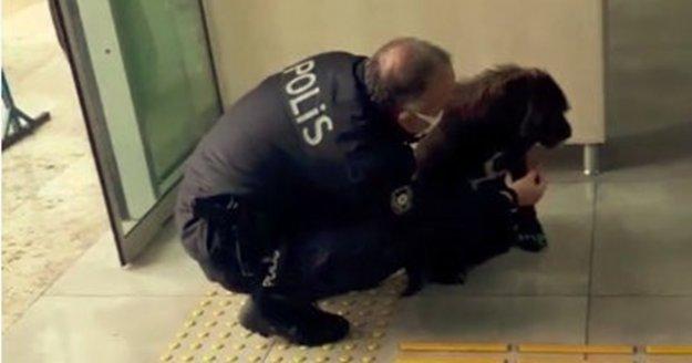 Kaymakamlık kontrol noktasına gelen köpeğe polis şefkati