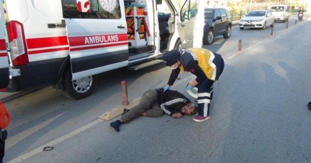 Alkollü ve kasksız motosiklet sürücüsü ölümden döndü