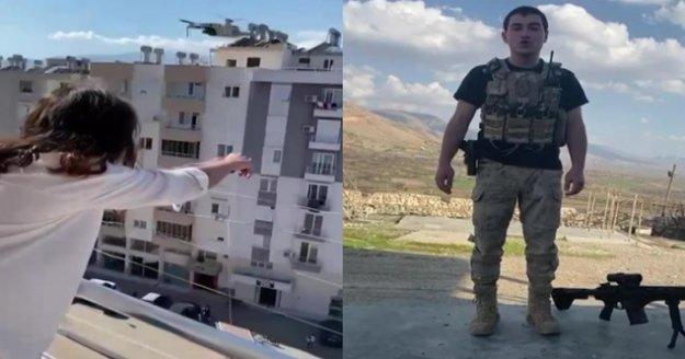 Bin 400 kilometre uzaktaki asker eşinden drone ile gül aldı