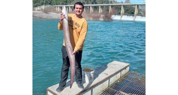 Boyu kadar yılan balığı yakaladı
