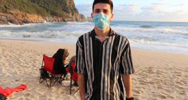 Alanya'da plajda şaşkına çeviren görüntüler