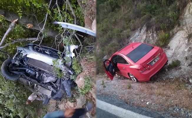 Alanya'da uçurumdan yuvarlanan sürücüyü emniyet kemeri kurtardı
