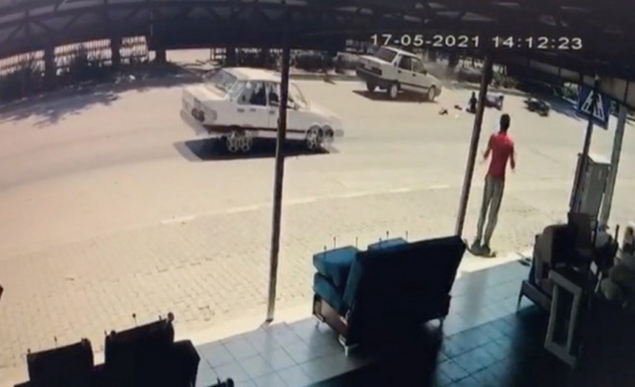 Motosiklet sürücüsü yaya geçidinde ölümden döndü