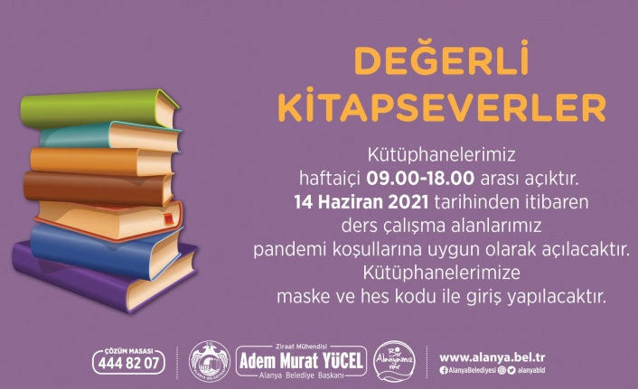 Alanya Belediyesi: Kütüphanemiz açık