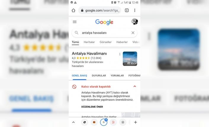 Google'dan Antalya Havalimanı skandalı