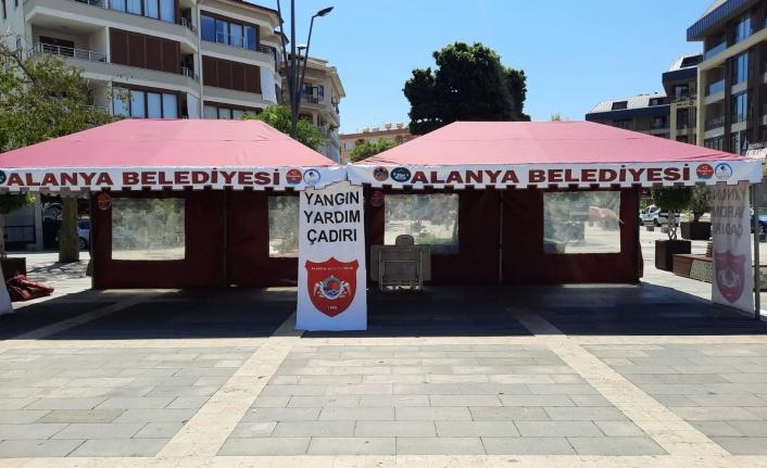 """Alanya Belediyespor """"Yangın Yardım çadırı"""" kurdu"""
